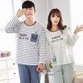 2017 Новый Полосатый Наборы Пижамы для Пара Хлопок Пижамы Симпатичные Pattern Panda-5088