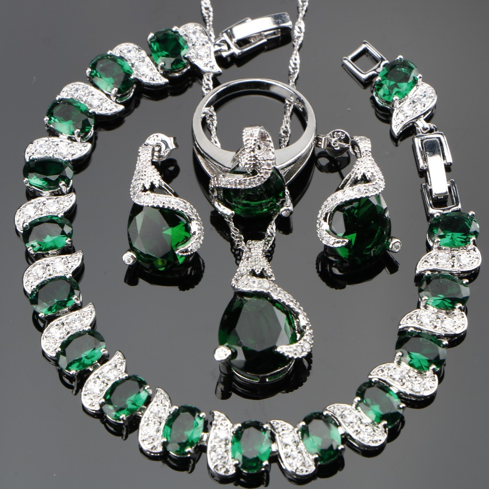 Green Zircon Bridal Silver 925 Jewelry Sets
