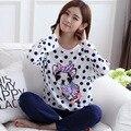 Puro Algodão das Mulheres Two-piece Conjuntos de Pijama Noite Cão Dos Desenhos Animados Calças Compridas Mangas Compridas Mulher Nightgowns Pijama Salão Sono plus Size