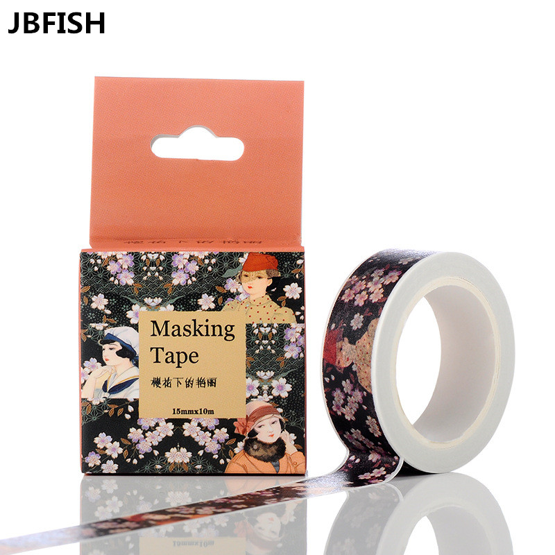 1.5cm*10m Cherry Blossoms Japanese Paper Washi Tape Office Adhesive Tape Kawaii Decorative Stationery Stickers 3056