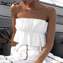 BerryGo Sexy vrouwen crop topruffle strapless Zomer geplooide lace up wit vrouwen korte tank top Vintage party dames camis(China)
