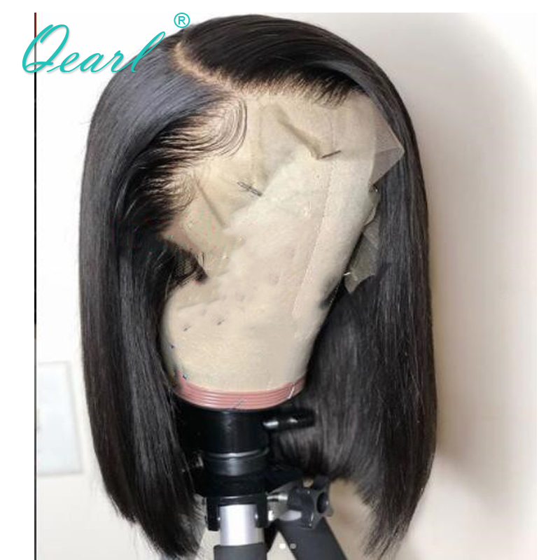Long Deep Side Parting Lace Front Wig 13x6 Short Bob Human Hair Wigs With Baby Hairs Straight Lace Wig Remy Hair Qearl
