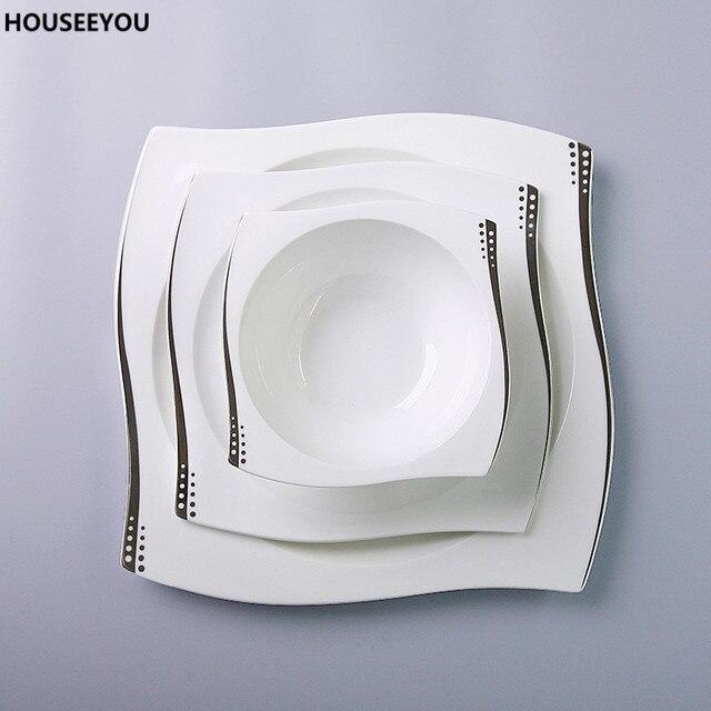 vaisselle en porcelaine ensemble porcelaine de vaisselle argent doublure points plat plaque bol. Black Bedroom Furniture Sets. Home Design Ideas