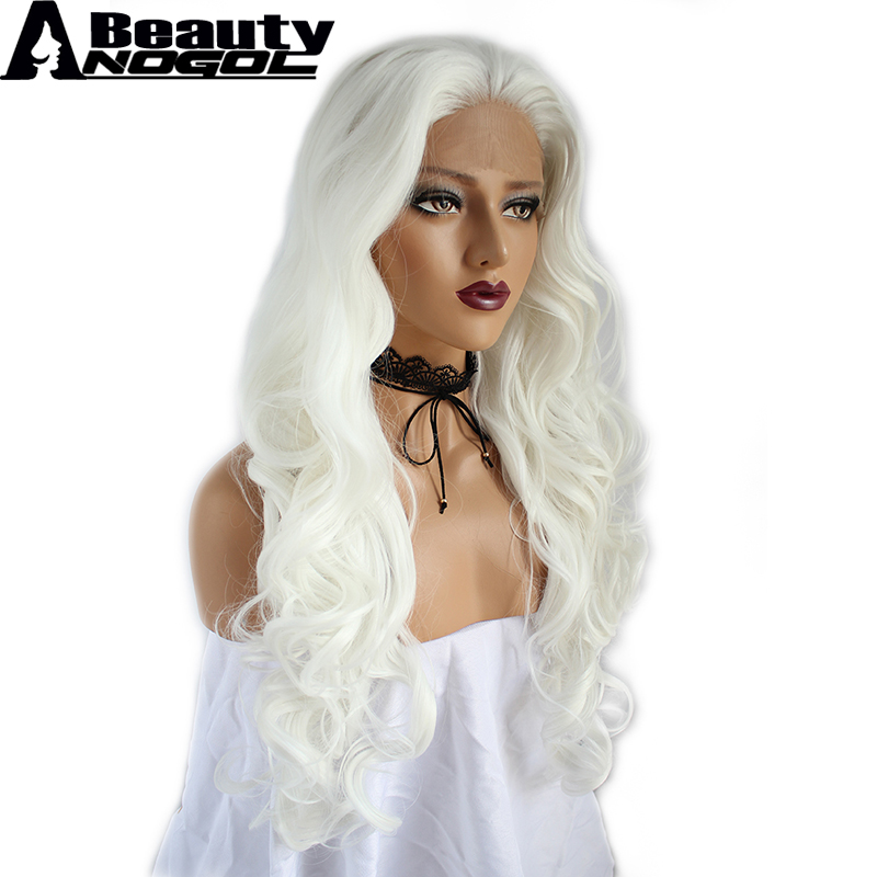 ANOGOL BEAUTY High Temperature Fiber Peruca U Part Long Body Wave Full hair Wigs White Synthetic Lace Front Wig With Widow Peak