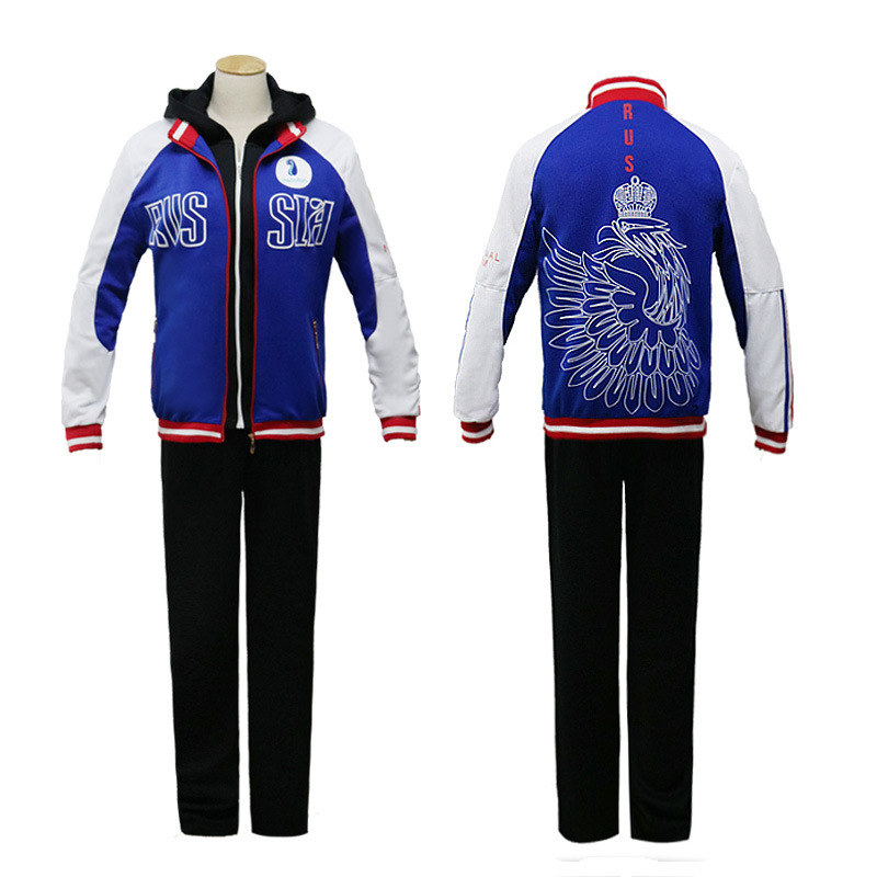 New Anime Yuri!!! on Ice Cosplay Costumes Yuri Plisetsky Cosplay Clothes Sport Suit Cosplay Sports Wear Jacket + Pants + hoodies