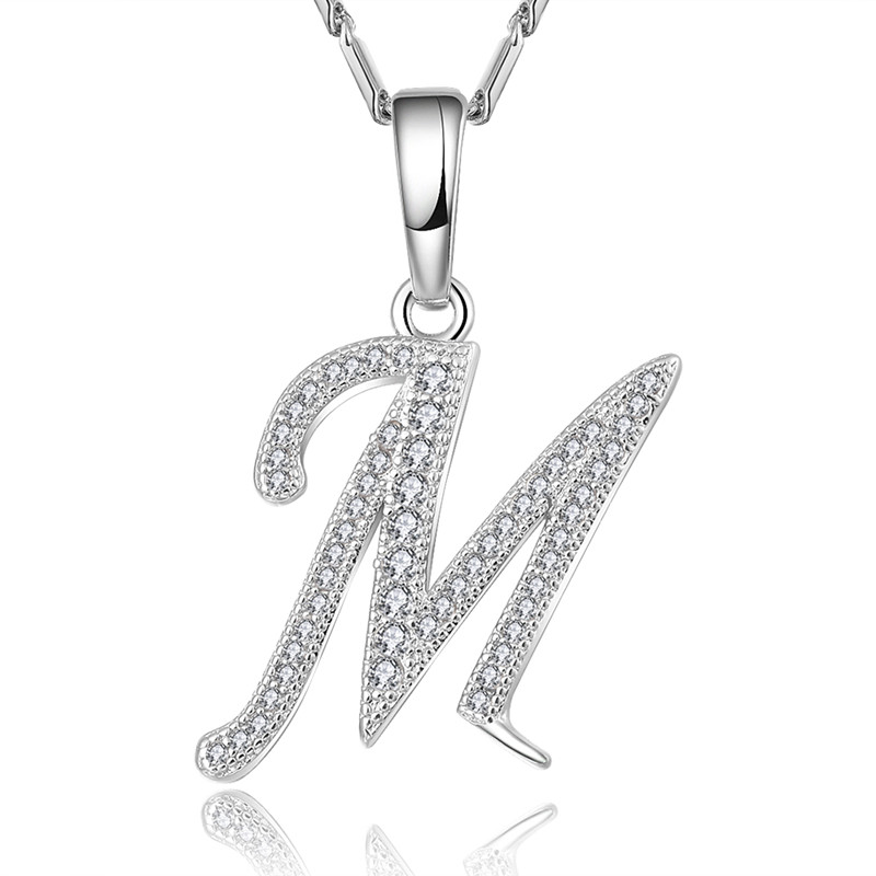 Brand Capital Initial M Letter Pendant & Chain For Men/Women Charm Jewelry Fashion silver