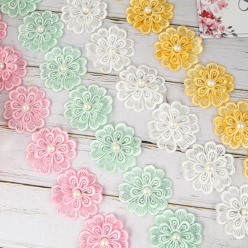 One Meter / Polyester Double Layer Floral Lace Fabric DIY Ribbon Patchwork Craft for Apparel Sewing Accessories Width 5.5cm