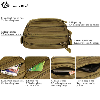 PROTECTOR PLUS Multipurpose Handbag Men Tactical Molle Messenger Bag Waterproof Military Camo Climbing Travel Waist bag Sports 3