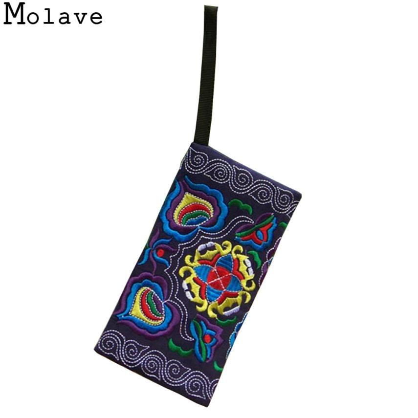 Molave Vintage Purse Wristlet Ethnic Embroidered Wallets Clutch-Bag Handmade Female Women