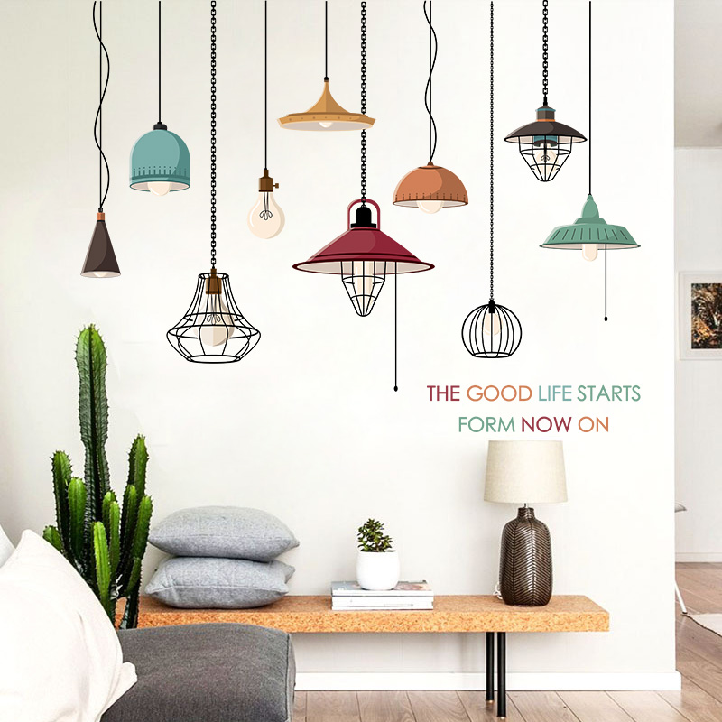 Muursticker Home Sweet Home.90 60 Modern Fashion Lamp Ornament Sticker Living Room