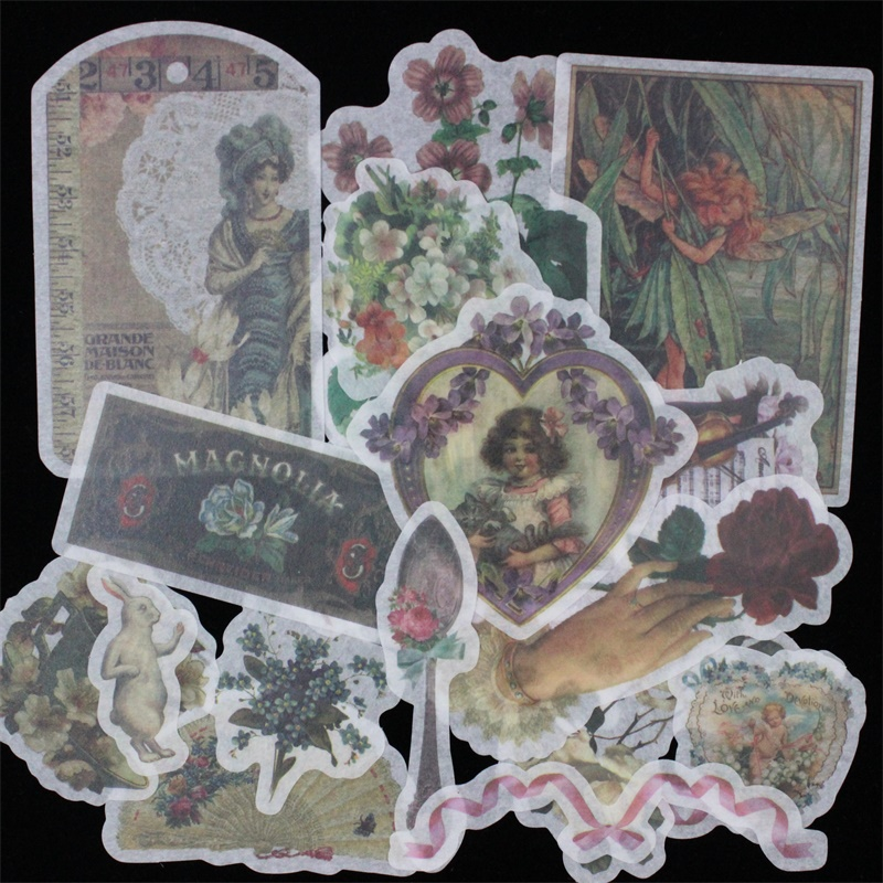 ZFPARTY 60pcs Vintage Designs Vellum Stickers For Scrapbooking Happy Planner/Card Making/Journaling Project 06