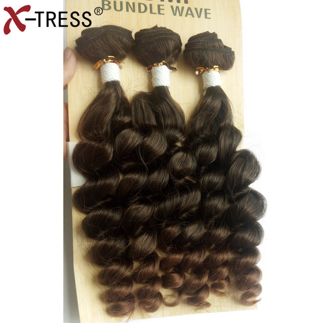 Ombre Brown Synthetic Weaving Fumi Bundle Wave 3pcspack High
