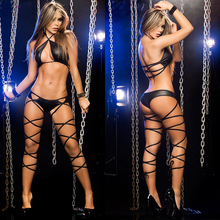 Hot Women Erotic Lingerie Latex leather Sexy Bandage Clubwear Pole Dance Costumes Baby Dolls Bodysuits Sexual Clothing Clubwear
