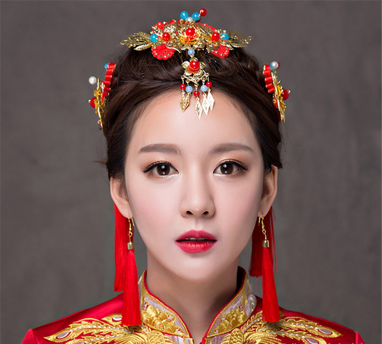 Wedding Chinese Bride Costume Crown Headdress Wedding Bride Hair Dress Tulips Headdress Set wedding accessories female A0008