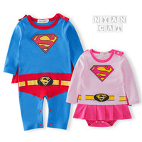 2017 New Spring Baby Unisex Clothing Superman Style Jumpsuit Newborn Baby Clothing Boys Rompers Baby Cotton