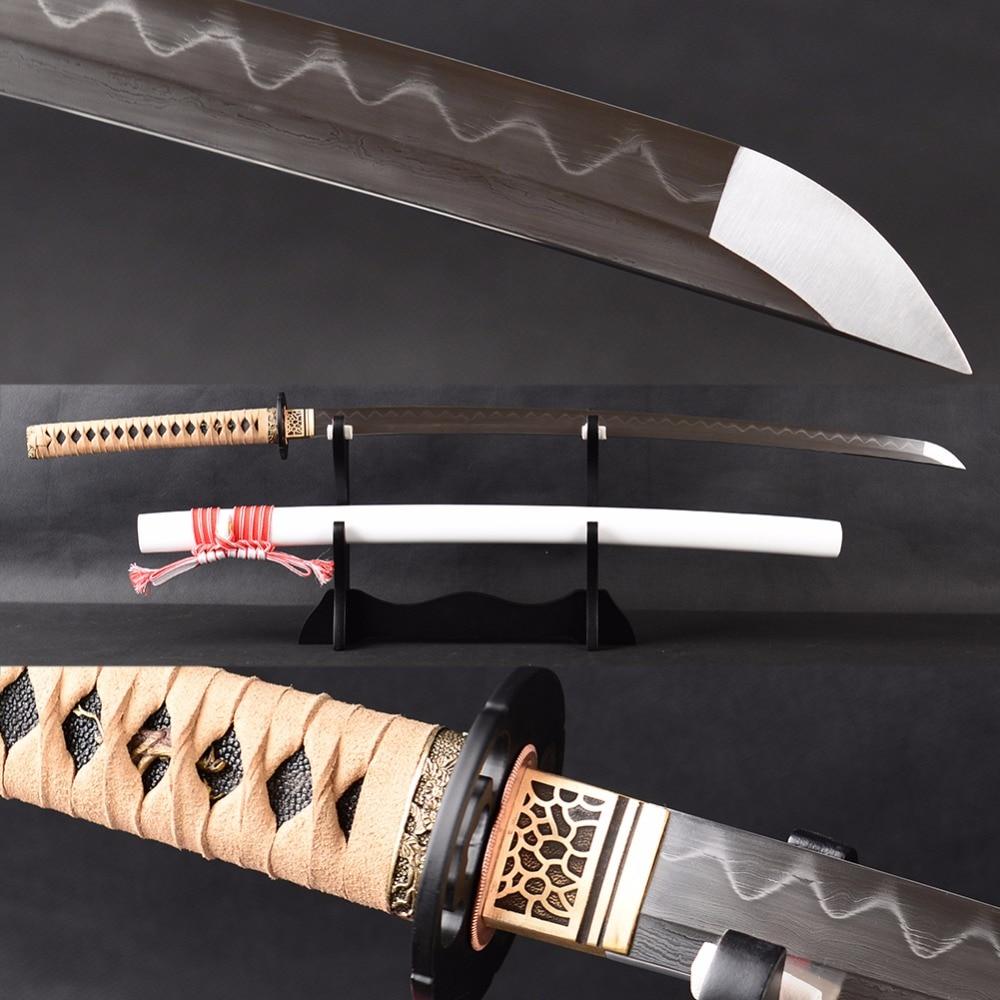 Reale sharp samurai sword katana giapponese no scanalatura di anima piena tang lama di damasco clay temperato espadas sword coltelli formazione