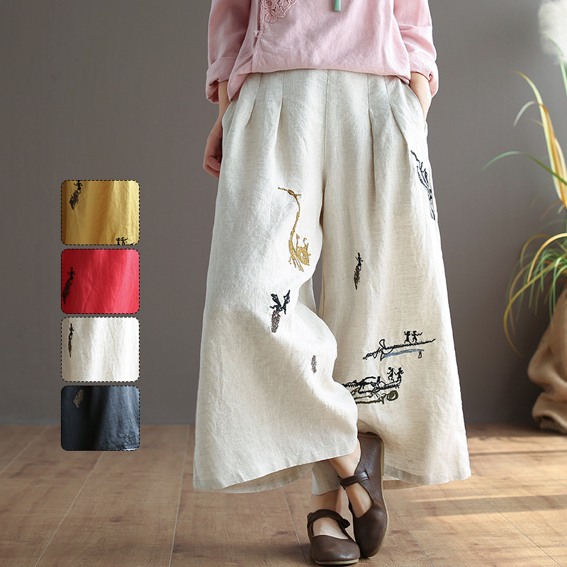 Original Vintage Theatrical Embroidered Cotton Linen   Wide     Leg     Pants   National Wind Elastic Waist Loose Linen Pantyhose