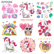 ZOTOONE Unicorn Set Stripes Iron on Transfer Patches Clothing Diy Patch Heat for Clothes T-shirts Girl Sticker I