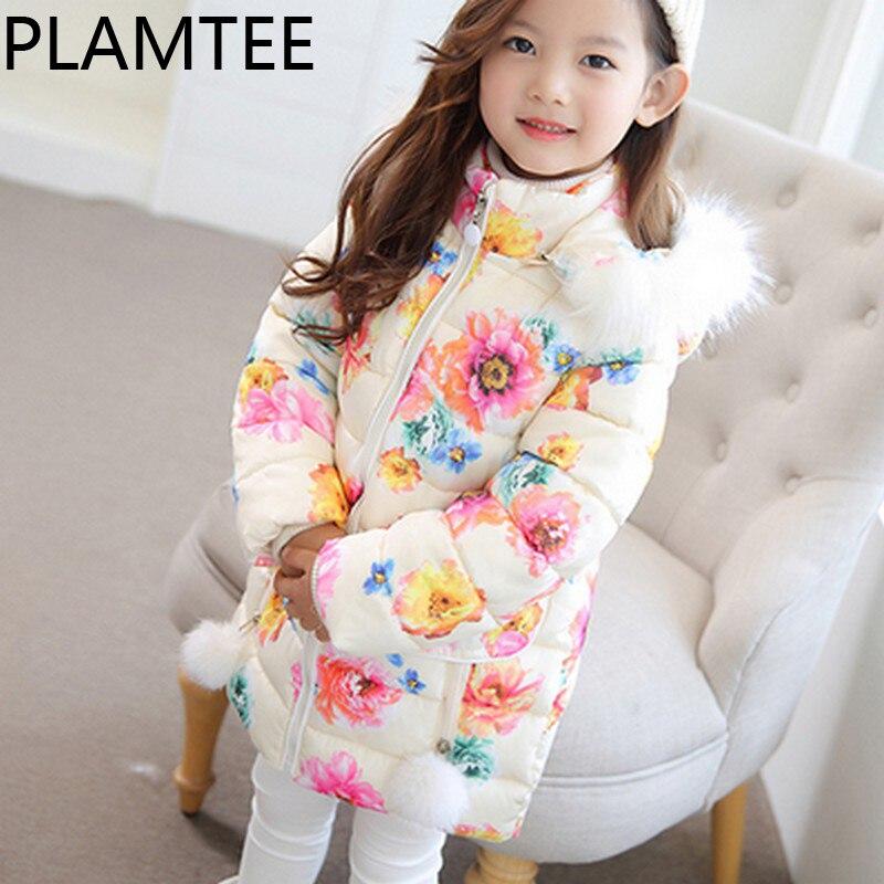 цена PLAMTEE Winter Clothes Kids Overwear Flower Printing Fashion Down Jacket For Girl Hoodies Warm Girls Jacket Costume In Snow 2017 онлайн в 2017 году