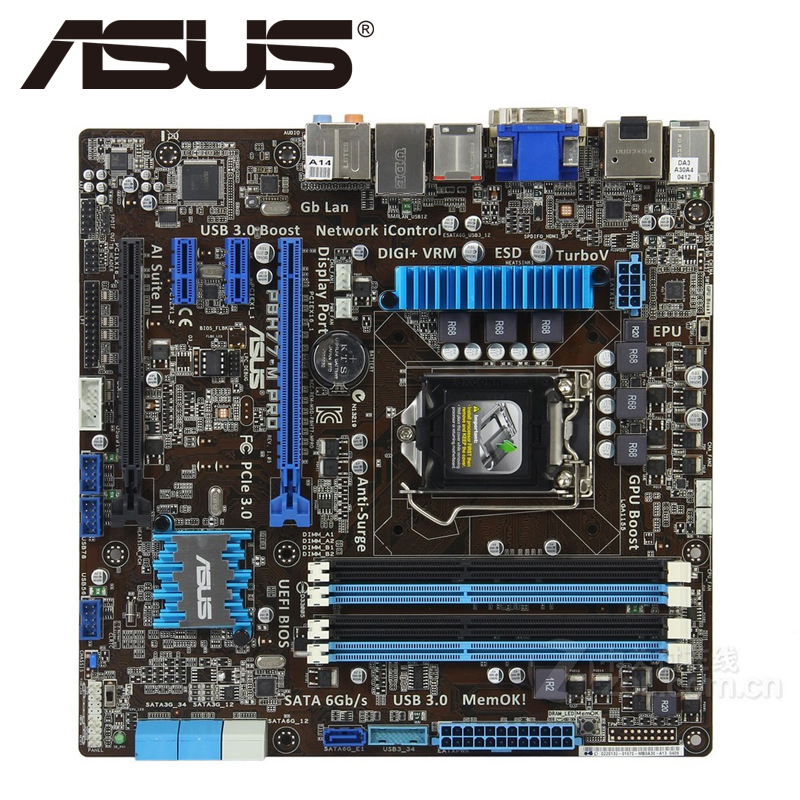 Asus P8H77-M PRO Desktop Motherboard H77 Socket LGA 1155 i3 i5 i7 DDR3 32G uATX UEFI BIOS Original Used Mainboard On Sale asus m5a78l desktop motherboard 760g 780l socket am3 am3 ddr3 16g atx uefi bios original used mainboard on sale