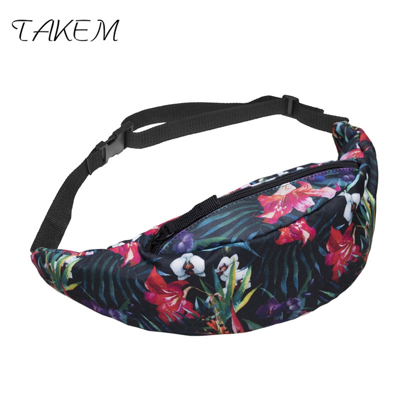 TAKEM 2018 fashion back full bandana black 3d printing fashion waist bag women fanny packs belt bum bag waist packs for men ...