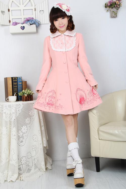 HotSale Lovely Pink Winter Cute Lolita Coat Winter Long Cotton Coats All Size hotsale 10pcs set pink