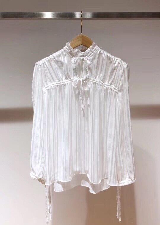 2019 printemps nouveau ruban arc col lanterne à manches longues pli plissé pur blanc lâche blouse - 3