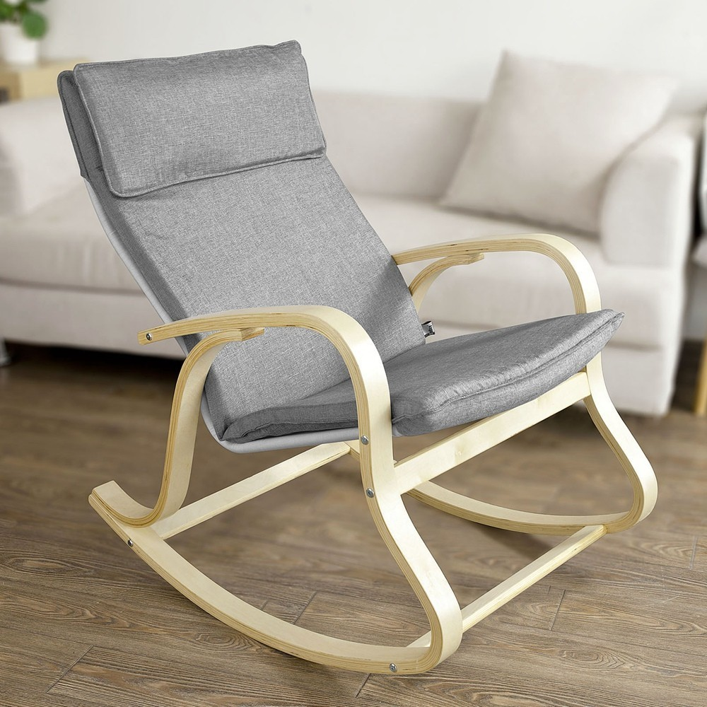 SoBuy  FST15 Comfortable Relax Rocking Chair, Lounge Chair With Cotton Fabric Cushion