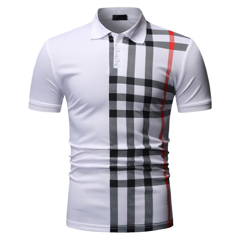New Men's Asia Size Polo Shirts For Summer Business Casual Gingham Check Polo Shirts