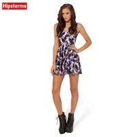 HIPSTERME женская Dress НАПАДЕНИЕ ЕДИНОРОГ Цифровой Отпечатано Женщины Лето Повседневная Рукавов для Торжеств и Вечеринок Slim Mini Dress
