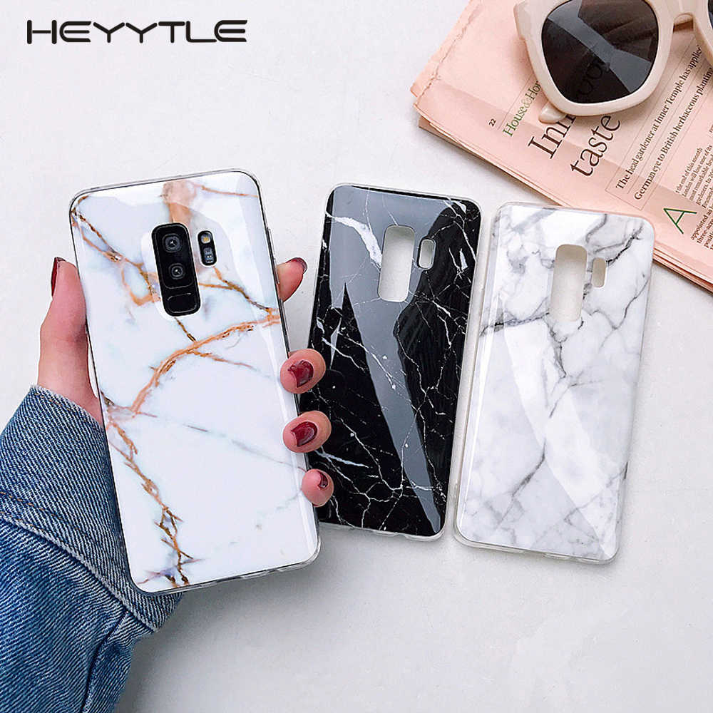 Heyytle Marble Phone Case For Samsung Galaxy S9 S8 Plus S10 Lite S7 Edge Note 9 8 Cases Ultra thin TPU Cases Smooth Cover Coque
