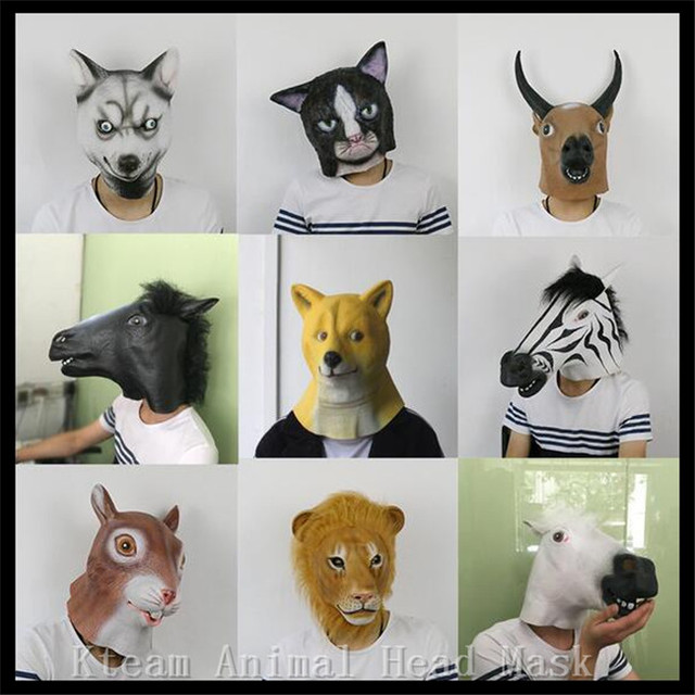 abbe2d35894 US $14.87 7% OFF Hot Sale Party Cosplay Creepy Horse Mask Halloween Costume  Theater Prop Novelty Latex Animal Mask Dog Cat Cow Squirrel Lion Mask-in ...
