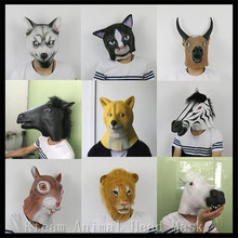 Hot Sale Party Cosplay Creepy Horse Mask Halloween Costume Theater Prop Novelty Latex Animal Mask Dog Cat Cow Squirrel Lion Mask