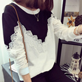 Suor garcon moletom crianças flores de renda top bonito roupas de manga comprida 2016 primavera new arrivals
