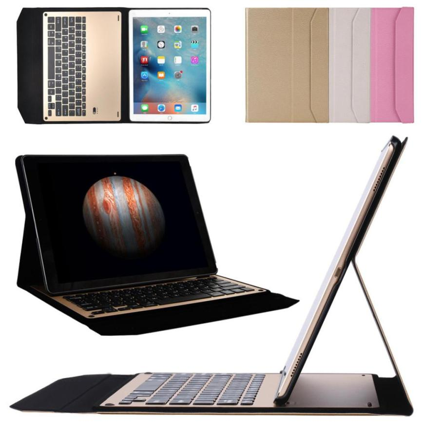 #AE Ultra Aluminum Bluetooth Keyboard with Leather Case Cover For iPad Air2 9.7inch ap7