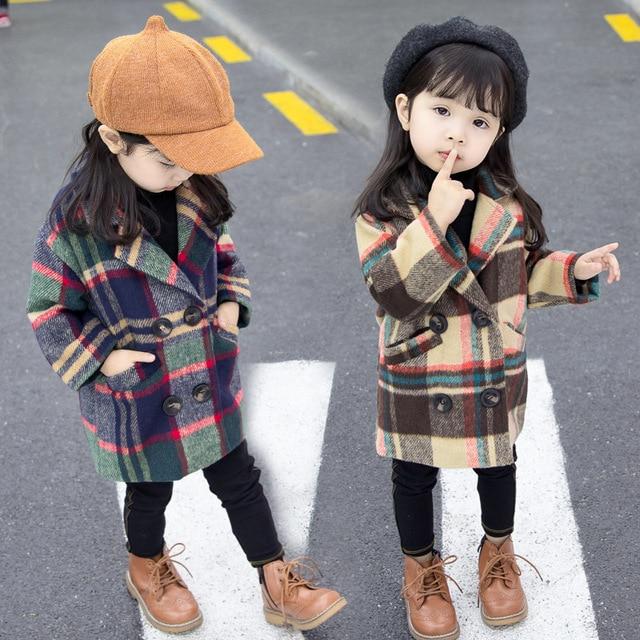 Anlencool 2020 New Spring Girls coat 1 5 years old female baby plaid wool coat kids fur coat  baby girl coat lattice clothing