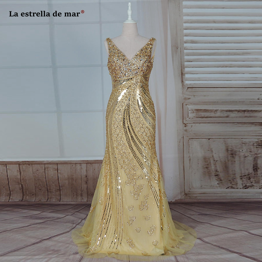Avondjurk 2019 new sexy V neck crystal sparkling gold sexy mermaid turkish evening dresses long real photo ball gowns luxury