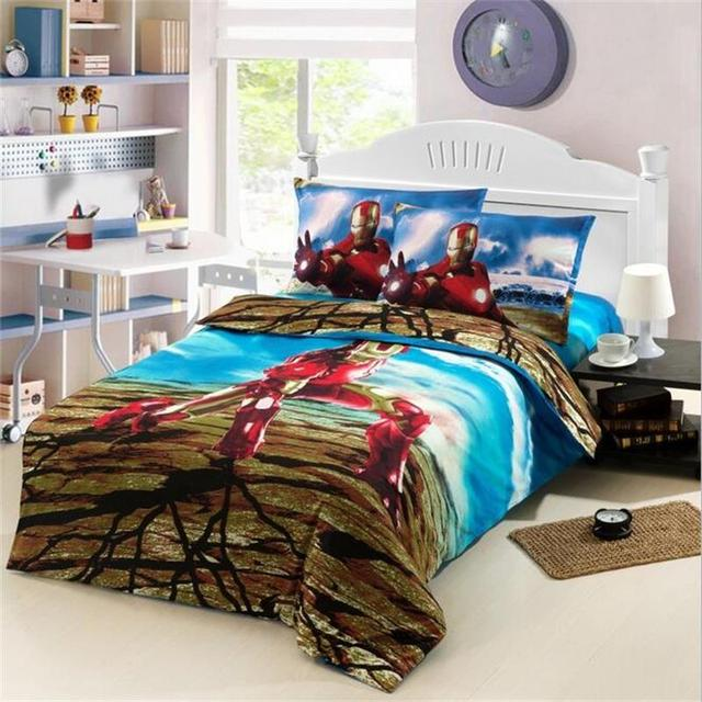 Super Hero Iron Man Children Boys Bedding Set Twin Size Bed Sheets Quilt  Cover Cotton Printed