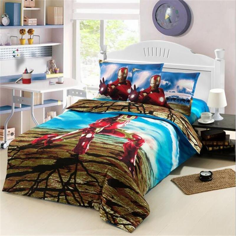 super hero iron man children boys bedding set twin size bed sheets quilt cover cotton printed - Twin Bed Comforters