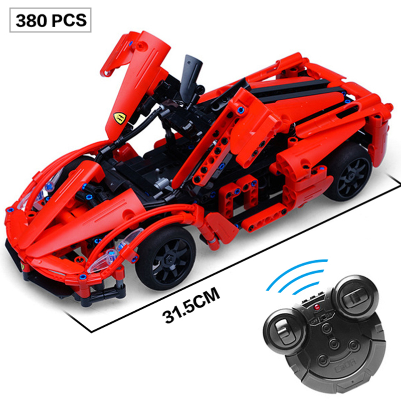 380pcs Technic Enlightenment Series RC Sports Car Model Building Blocks Set Remote Controlled Racing Car Compatible