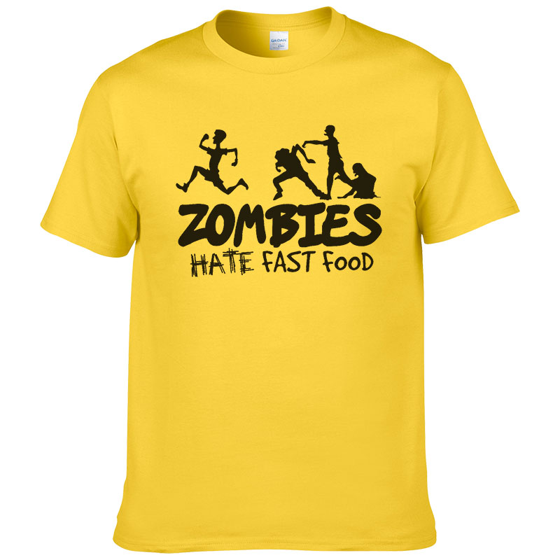 Zombies Hate Fast Food T Shirt Men Summer Cotton Printed T-shirt 2019 Fashion Harajuku Unisex Tops Cool Tees #308
