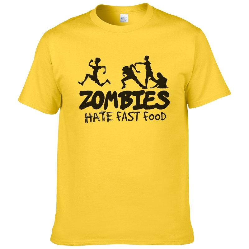 Zombies Hate Fast Food T Shirt Men Summer Cotton Printed T-shirt 2019 Fashion Harajuku Unisex Tops Cool Tees #308