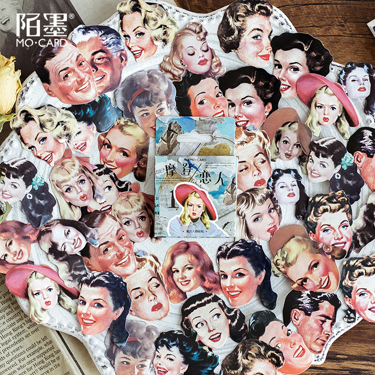 45pcs/pack Vintage Posters Girls Decorative Stationery Adhesive Stickers Scrapbooking DIY Diary Album Stick Label
