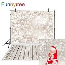 Fond de noël Funnytree pour studio photo Snowboard plancher en bois hiver enfants photocall pays des merveilles photographie toile de fond
