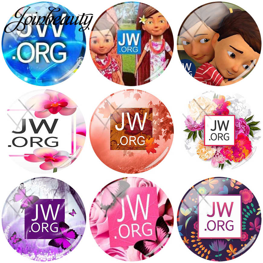JOINBEAUTY  JW .Org  Pattern Flat Back Printed DIY 25mm Diameter Glass Half Round Dome Cabochons for Photo Craft Jewelry Making