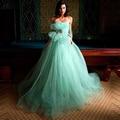 Luz Verde Prom Vestido de noite Vestido Longo Vestido de noiva Sem Mangas Flor vestido de Noite Grávida Personalizado vestido de Baile Vestidos de Festa