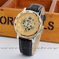 De lujo de Diseño Esquelético de Oro Dial Negro De Cuero Banda de Cuarzo Reloj de Señora Mujeres de Los Hombres Unisex Nuevo Regalo Q2729