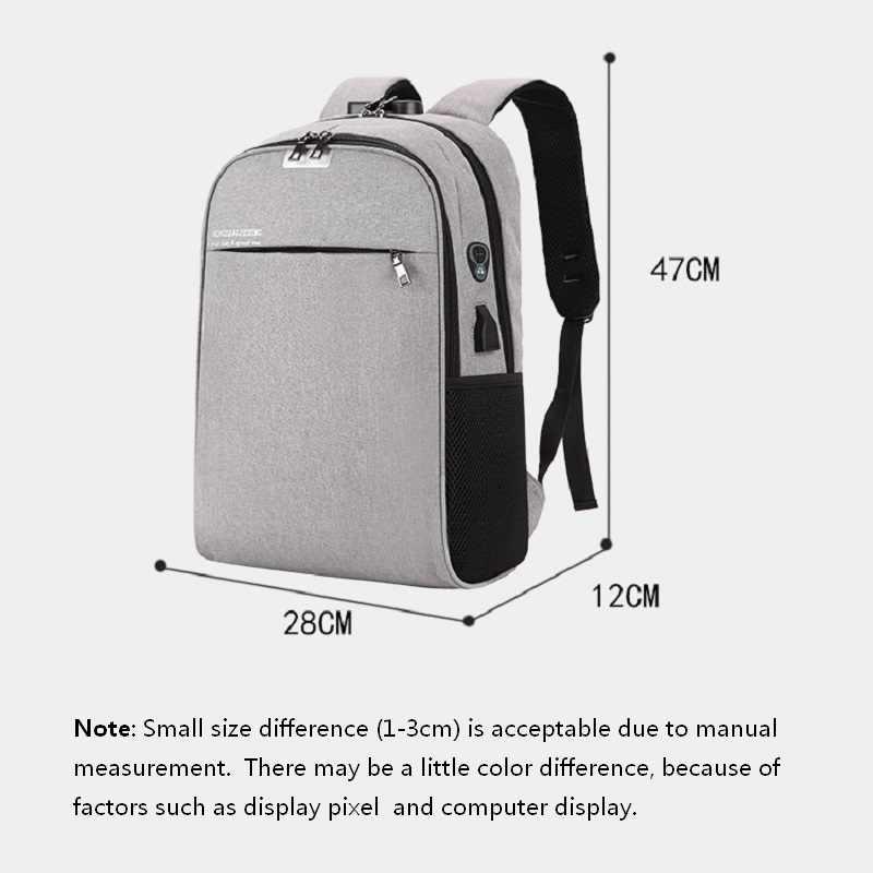 Carregamento usb com bloqueio de senha fone ouvido buraco mochila estudantes universitários novo saco do computador negócios mochilas viagem à prova dwaterproof água