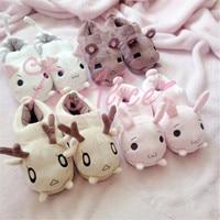 Super Cute Animals Warm Flats Bunny Rabbit Meow Cat Kitty Bear Reindeer Soft Women Indoor Floor