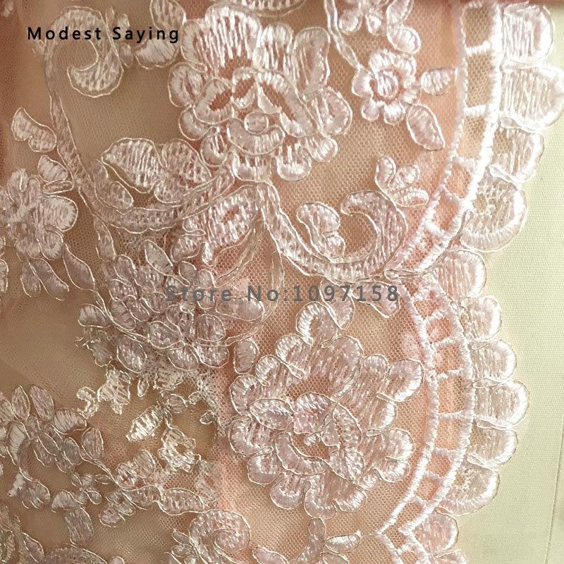 Elegantna Nude Pink Taffeta Majka nevjeste Čipkaste haljine 2017 s - Vjenčanje večernje haljine - Foto 6